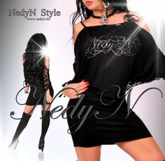 NedyN fekete csipke hát díszes női ruha - tunika