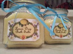 Lemon Bath Salts  3 c. Epsom salts  1 tsp. Sugar  1/2 tsp. Lemon extract  1/2 tsp. Lemon juice  2-3 drops yellow food color  Put in glass jar and add ribbon for easy gifts that are sure to please anyone :)