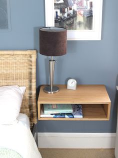 Floating Nightstand / Hanging Bedside Table in White Oak, Mid-Century Modern Inspired Floating Shelf Side Table Wood End Table Scandinavian Handmade Bedside Tables, Modern Bedside Table, Bedside Table Design, Modern Sideboard, Small Nightstand, Floating Nightstand, Floating Shelves, Nightstand Ideas, Floating Wall