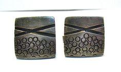VINTAGE STERLING SILVER LARGE CUFFLINKS ARTISTIC DESIGN 25 MM 23.7 GRAMS