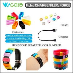 WoCase Fitbit CHARGE FLEX FORCE or CHARGE Accessory Collection (Sold SEPARATELY or Bundled): Replacement Charger USB Charging Cable / Band Fastener Holder Clasp-Fix/ Accessory Clasp Set for Fitbit FLEX FORCE and CHARGE Activity and Sleep Tracker Wristband Band Bracelet (Secure Your Wristband in Style, Fix Clasp Falling off, Personalize your Fitbit, Retail Gift Ready Package)