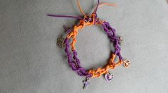 Twisted+rope+woven+with+purple+&+orange+cotton+cords.+Matching+charms!