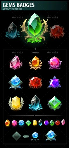 Buy Gems Badges by a-ravlik on GraphicRiver. The set includes 10 badges. Gem Drawing, Lilo E Stitch, Game Gem, Game Ui Design, Fantasy Concept Art, Magical Jewelry, 3d Texture, Avatar Aang, Game Icon
