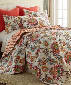 $67.99 full/queen, 100% cotton, machine wash & dry. This Palladium Quilt Set by Levtex Home is perfect! #zulilyfinds