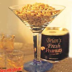 Casino theme snack in a martini glass...peanuts, popcorn, mints, pretzels, etc.