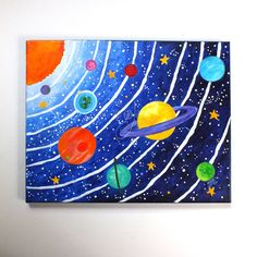 CUSTOM art Solar System 16x12 acrylic canvas painting by nJoyArt