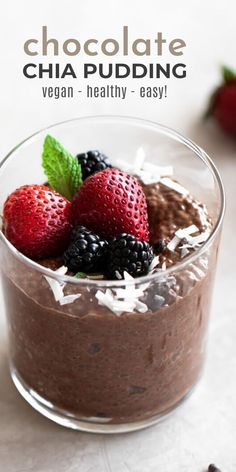 chia seed pudding Chocolate chia pudding is a delicious and easy-to-make snack that's satisfying for any sweet tooth. It's made with chia seeds, cocoa powder, almond milk, and natural Chia Pudding Almond Milk, Chocolate Chia Seed Pudding, Chia Seed Coconut Milk, Chocolate Almond Milk, Vegan Pudding, Delicious Chocolate, Easy To Make Snacks, Food To Make, Pouding Chia