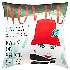image of kate spade new york Rain or Shine Square Throw Pillow in Red/Multi