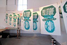 Formes Vives, affiches-slogans, atelier graphisme des Rdv de Terres Neuves à Bègles, 50x70cm, sérigraphie 2 tons, composition avec 4 cadres interchangeables, 100 exemplaires, juillet 2011