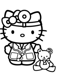 Docter Hello Kitty Coloring Pages