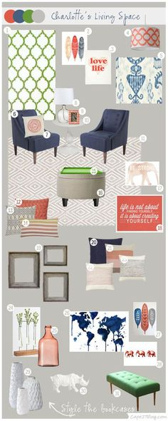I love this mood board from Cape27 blog! The color combos would be great for bringing something other than blue into our living room!