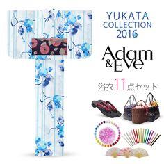 2016 Summer Adam & Eve Yukata set Light blue cotton