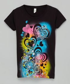 Look at this Black Airbrush Heart Glitter Tee on #zulily today!