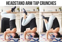Handstand Arm Tap Knee Crunches