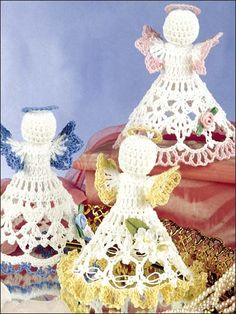 Celestial Trio Crochet Pattern Download from e-PatternsCentral.com -- Adorn a small tabletop or shelf with these three dainty angels.