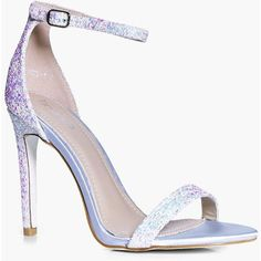 Boohoo Rebecca Bridal Glitter Two Part Sandal ($44) ❤ liked on Polyvore featuring shoes, sandals, floral sandals, jelly sandals, evening shoes, evening sandals and high heel sandals