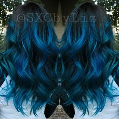 Blue hair ombre Balayage highlights long hair Blue hair shadow Sweeping highlights long hair Blue hair shadow SweepingSimple sweep Sweep And Shadow Sea Ombré Hair, Dye My Hair, Hair Dos, Blue Ombre Hair, Pastel Hair, Neon Hair, Violet Hair, Hair Color And Cut, Cool Hair Color