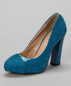 Another great find on #zulily! Blue Two-Tone Pump by Nichole Simpson #zulilyfinds