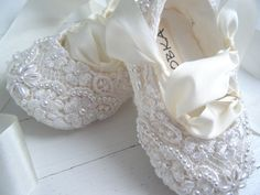 Ultimate Baby Ballet,  Ivory Slipper Shoes, Flower Girl Shoes, Toddler Flats, Bobka Shoes by BobkaBaby. $105.00, via Etsy.