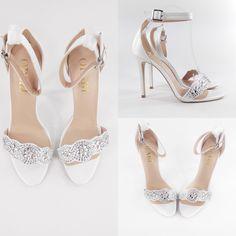 White Wedding High Heel with toe embellishment #oparishoes #white #wedding #shoes www.opari.co.za