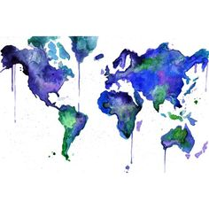 Watercolor World Map Illustration: Earth in Technicolor print ❤ liked on Polyvore