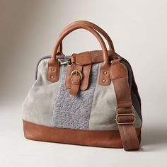 """BOHO RHYTHM BAG--Inspired by hand-stitched, vintage clothing, each one-of-a-kind boho bag is pintucked and hand embroidered with metallic copper thread over hand-dyed canvas, suede and buttersoft leather. Spot clean. Imported. Exclusive. Approx. 17-3/4""""W x 6""""D x 13""""H."""