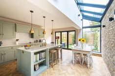 Kitchen Extension in South West London - Ideas and Inspiration - Bespoke Kitchens for Living In. Made in Kent, UK Small Kitchen Diner, Kitchen Diner Extension, Open Plan Kitchen Living Room, Kitchen Family Rooms, New Kitchen, Kitchen Ideas, Brass Kitchen, Green Kitchen, Design Kitchen