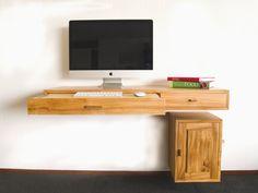 Zwevend bureau iepenhout | Meubelmakerij Hauthentiek, massief houten meubels op maat