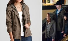 Scarlett Johansson wears the Splendid Capetown Safari khaki hooded jacket while out at the mall with Captain America