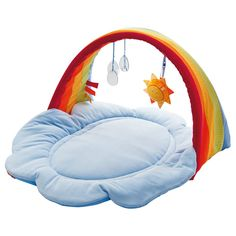 Haba Play Gym Rainbow Magic  On the softly padded blanket, babies lie as if floating on clouds. The rainbow is an invitation to play. The removable sun, with its crinkling foil rays, rattles. One side of the sun shows a smiling face, the other has a mirror for the babies to look at themselves. The three raindrops also have safe, mirror effects and sparkle nicely when hit by the sun.