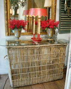 French Bakers Basket Console Table