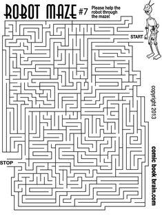 Large Robot Maze Number 7 - kids maze activity page to print out - Large Robot Maze Number 7 – kids maze activity page to print out Estás en el lugar correcto para - Planets Preschool, Preschool Activities At Home, Book Activities, Hard Mazes, Mazes For Kids Printable, Hand Crafts For Kids, Maze Worksheet, Sudoku, Maze Puzzles