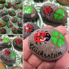 Stone lucky charm Glücksstein/Wish stone fly fungus, lucky beetle, clover leaf guest gift gift table decoration painted hand painted - Basteln Table Cadeau, Painted Rocks, Hand Painted, Lucky Stone, Guest Gifts, Gift Table, Decoration Table, Lucky Charm, Stone Painting