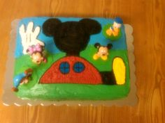 The Mickey Mouse cake I made Jackson for his 2nd birthday it was a big hit!