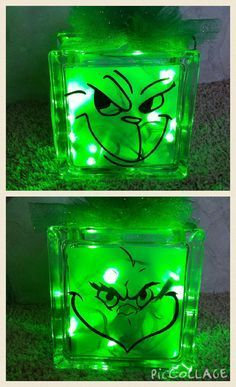 Grinch Glass Block with LED green lights. This block measures The glass block is decorated on both sides with two different Grinch faces so you can enjoy this from any direction. Grinch Party, Le Grinch, Grinch Stuff, Grinch Christmas Party, Winter Christmas, Christmas Holidays, Christmas Ornaments, Grinch Christmas Decorations, Christmas Couple