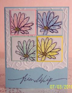 Same stamp, different colors--great square punch use.