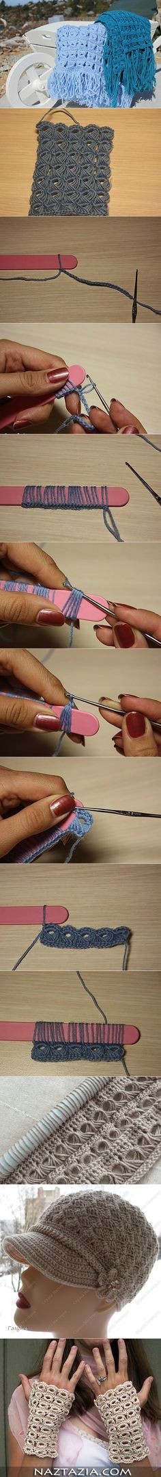 DIY Basic Crochet Pattern with Popsicle Stick - http://manmadediy.me/diy-basic-crochet-pattern-with-popsicle-stick/