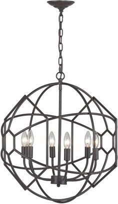 """0-014285>21""""""""w 6-Light Rustic Iron Orb Chandelier with Honeycomb Metalwork Aged Bronze"""