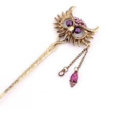 Fashion Vintage Bronze Rhinestone Purple Hollow Owl Chains Charm Hairpin