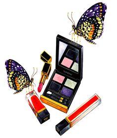 Maquillaje y mariposas de la acuarela de la moda por sunnygu en Etsy