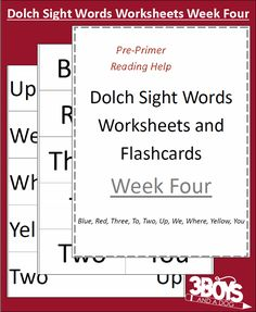 Dolch Site Words Week 4 Dolch Sight Words Worksheets:  Week Four
