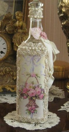 MIXED MEDIA ALTERED ART BOTTLE - ROSE PRINT- LACE, ELEGANT SHABBY, OOAK