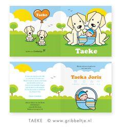 Geboortekaartje met honden (Golden Retrievers) - Birth announcement with dogs (Golden Retrievers) * Made by Gribbeltje *