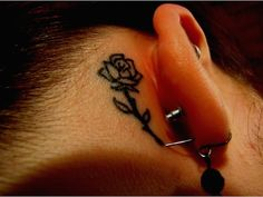 Flower tattoo behind the ear - This is a good spot for those who want to hide their small tattoo. #TattooModels #tattoo