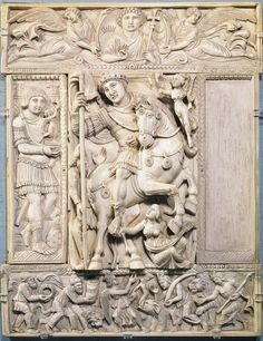 Justinian as world conqueror: classic aspects (drapery), naturalistic pose, horse