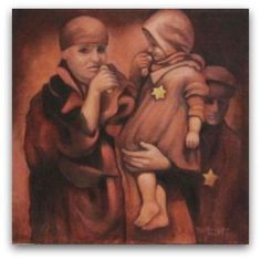 Title: HaMotzei Lechem.  Imagine whole families being dragged at gunpoint from their homes, marked with yellow stars, herded into a train, and only to arrive at the killing fields of #Auschwitz. In large canvas-like bags hanging heavy from their shoulders, were probably some pictures and a few treasures, but more likely what a mother would never forget – food for the children. The mother no doubt said the HaMotzei Lechem (prayer for blessing bread) before they took a bite. #Holocaust