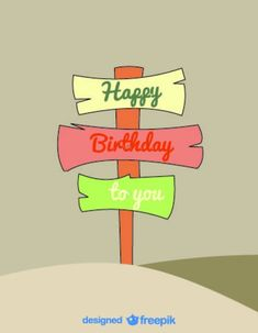 Cartoon Signs Vector Birthday Card Retro Style