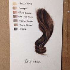 Dark brown hair using colored pencils