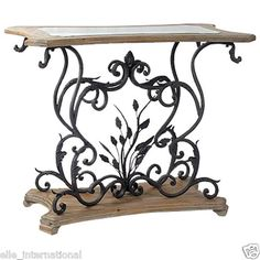 Console Table w/ Glass Top Reclaimed Iron & Elm Floral Scrolls New Free Shipping