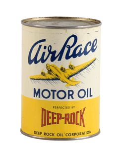 Deep Rock Air Race Motor Oil Quart Can Vintage Oil Cans, Old Gas Pumps, Gas Station, Auction, Packaging, Racing, Deep, Lettering, Rock